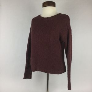 LOFT Maroon Burgundy Chunky Cable Knit Sweater